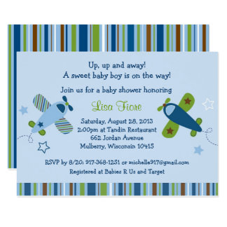 Airplane Baby Shower Card