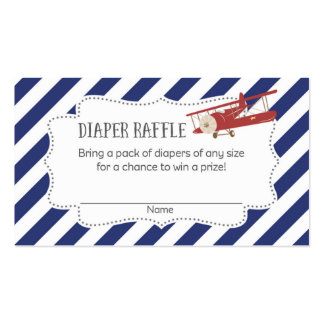 Airplane Baby Shower Diaper Raffle Tickets Business Card