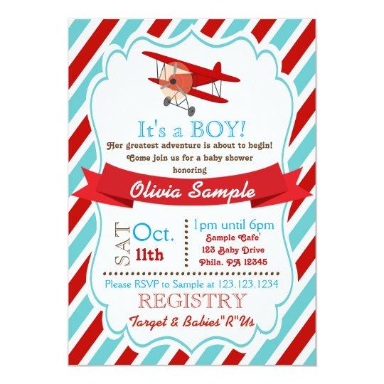 Airplane Baby Shower Invitation Zazzlecom