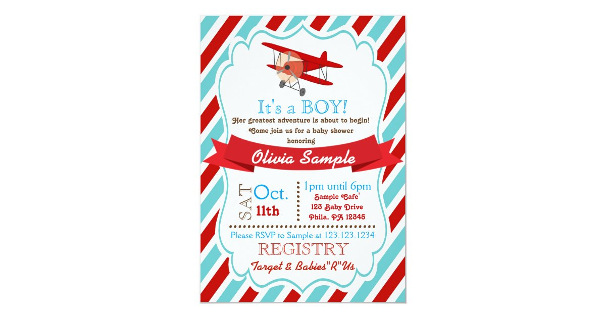 Airplane Baby Shower Invitation | Zazzle.com