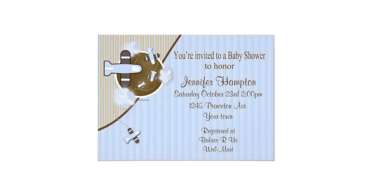 airplane baby shower invitation zazzle
