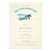 Airplane  Baby Shower Invitation - Blue and Brown