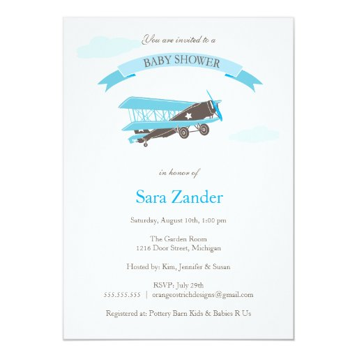 airplane baby shower invitation blue and brown zazzle