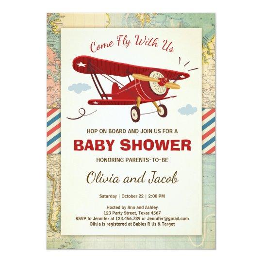 Airplane Baby Shower Invitation Travel Adventure Zazzlecom
