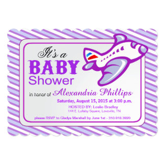 Airplane Baby Shower   lilac blue 5x7 Paper Invitation Card