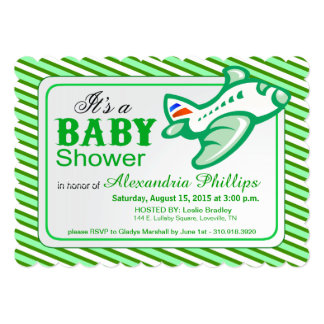 Airplane Baby Shower   mint green 5x7 Paper Invitation Card