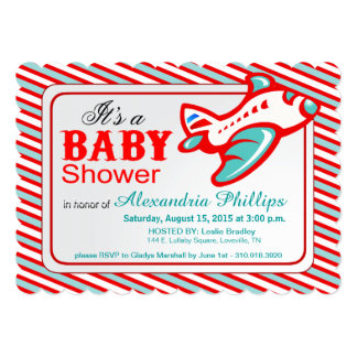 Airplane Baby Shower   red teal 5x7 Paper Invitation Card
