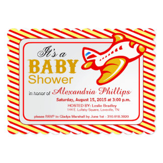 Airplane Baby Shower   red yellow 5x7 Paper Invitation Card