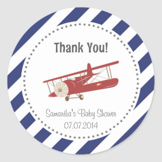 Airplane Baby Shower Thank You Sticker