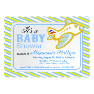 Airplane Baby Shower   yellow blue 5x7 Paper Invitation Card