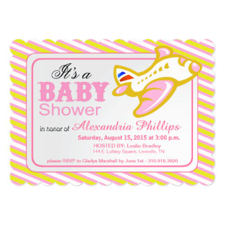 Airplane Baby Shower   yellow pink 5x7 Paper Invitation Card
