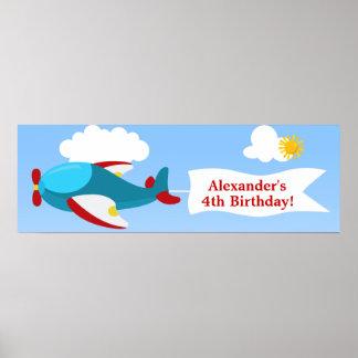 Airplane Banner Boy Birthday Banner Poster