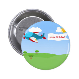 Airplane Banner Boy Birthday Button