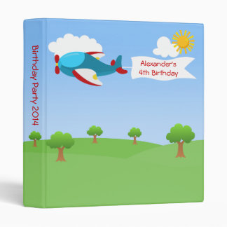 Airplane Banner Boy Birthday Party Photo Album Binder