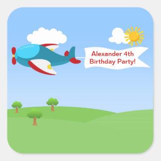 Airplane Banner Boy Birthday Party Stickers Square Sticker