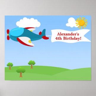 Airplane Banner Boy Birthday Poster