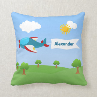 Airplane Banner Boy Throw Pillow