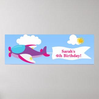 Airplane Banner Girl Birthday Banner Poster