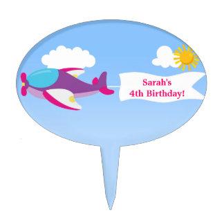 Airplane Banner Girl Birthday Cake Topper