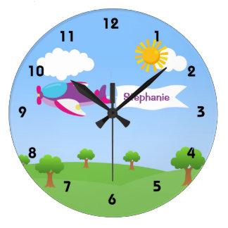 Airplane Banner Girl Wall Clocks