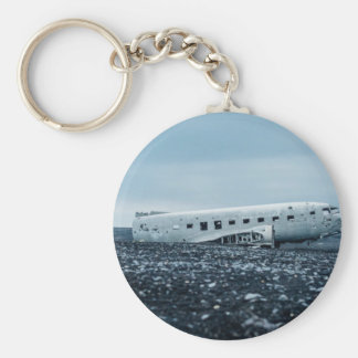 airplane basic round button keychain