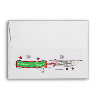 Airplane Biplane Happy Holidays Envelope