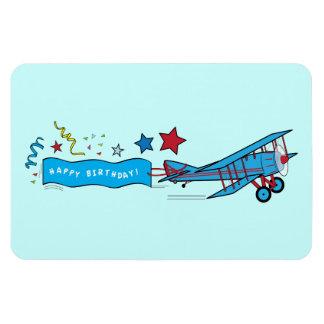 Airplane: Biplane with Happy Birthday Streamer Magnet