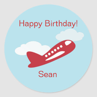 Airplane Birthday Cupcake Toppers/Stickers Classic Round Sticker