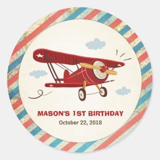 Airplane Birthday favor tag Sticker Adventure
