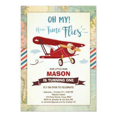 airplane boy birthday party invitation zazzle com