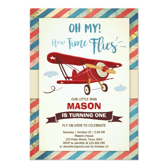 Items Similar To Airplane Birthday Invitation: Airplane Birthday Invitation Time Flies Plane Boy