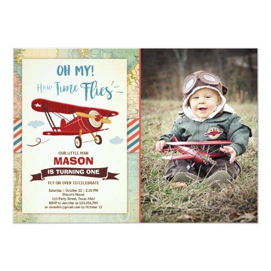 airplane birthday invitation time flies plane boy zazzle com