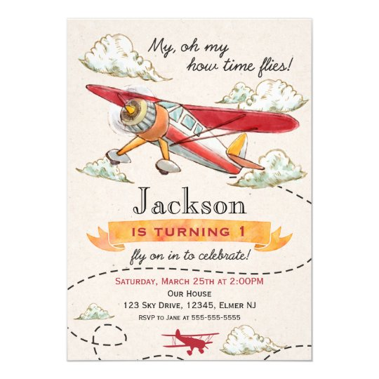 Airplane Birthday Invitation Vintage Plane Invite