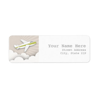 Airplane Birthday Party Address Label - Green
