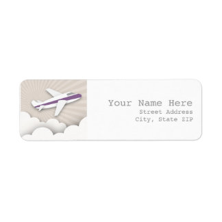 Airplane Birthday Party Address Label - Purple