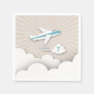 Airplane Birthday Party - Blue Napkin