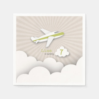 Airplane Birthday Party - Green Paper Napkins