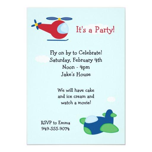 Airplane Birthday Party Invitation