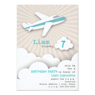 Airplane Birthday Party Invitation - Blue