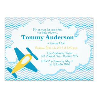 Airplane Birthday Party Invitation Chevron
