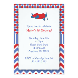 Airplane Birthday Party invite / red white blue