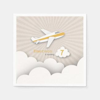 Airplane Birthday Party - Orange Paper Napkin