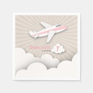 Airplane Birthday Party - Pink Napkin