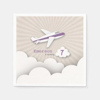 Airplane Birthday Party - Purple Paper Napkin