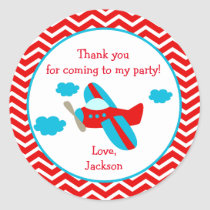 Airplane Birthday Party Stickers