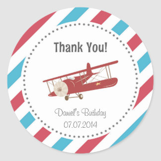 Airplane Birthday Thank You Sticker
