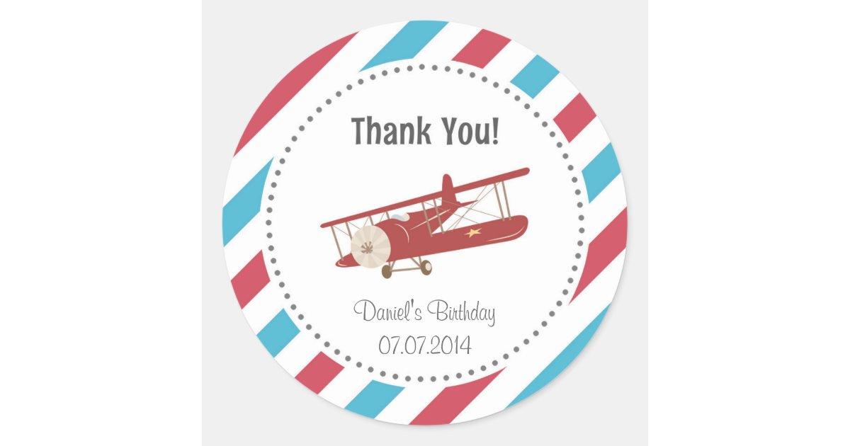Airplane Birthday Thank You Sticker Zazzle Com