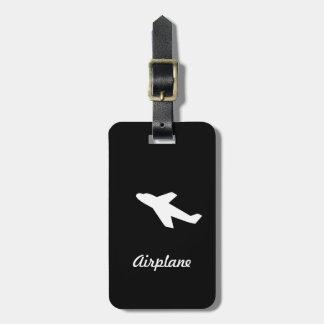 Airplane black travel luggage tag