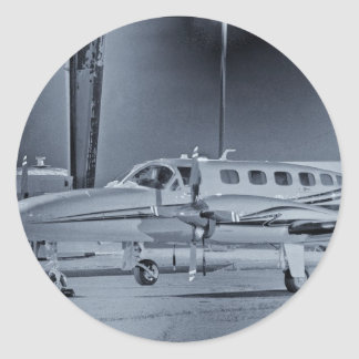 "Airplane ""black white"" photo picture HDR T-Shirt Round Sticker"