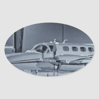 "Airplane ""black white"" photo picture HDR T-Shirt Oval Sticker"